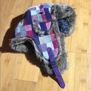 D&Y faux fur plaid trapper hat pink/purple OS